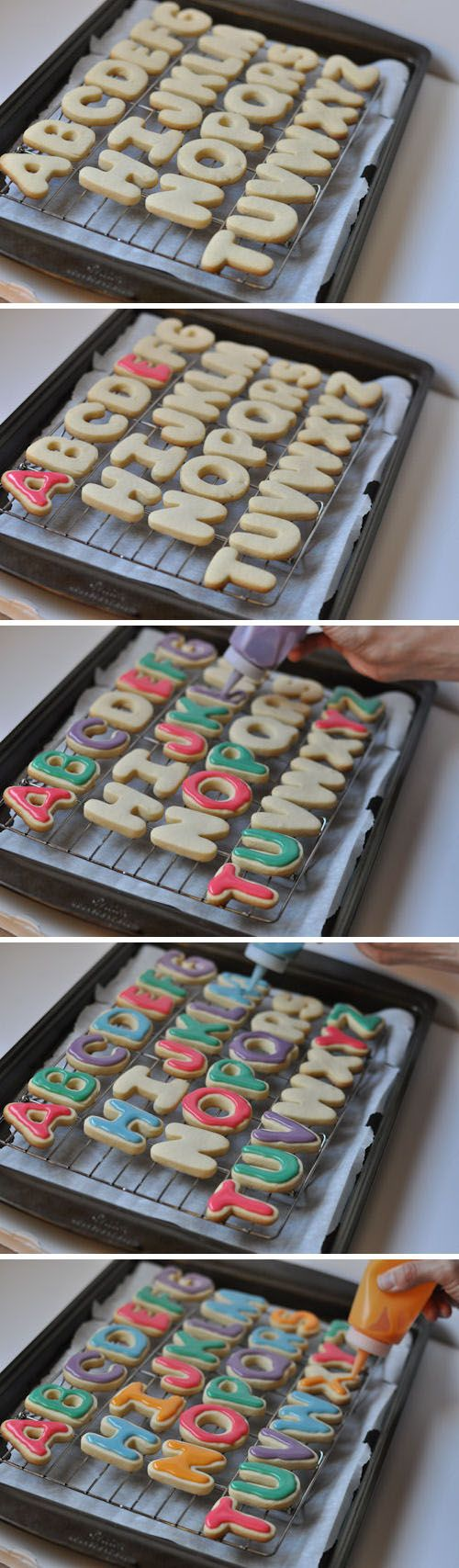Alphabet Cookies... love these and love the idea of using squeeze bottles to ice them