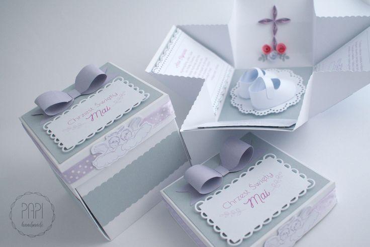 Zaproszenia boxy na Chrzest Święty   Kartki ręcznie robione, zaproszenia ślubne handmade Poznań