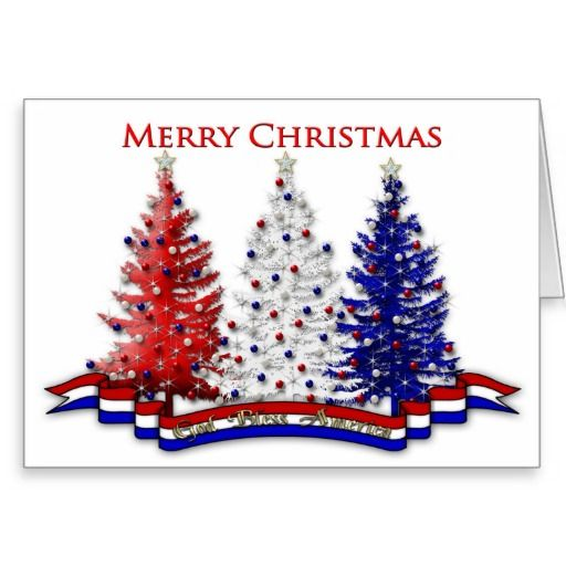 Exceptionnel PATRIOTIC USA CHRISTMAS GREETINGS   TREES GREETING CARD