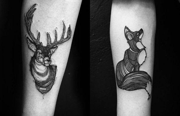 As fantásticas tatuagens em linhas contínuas e em ...