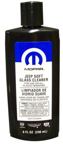 Mopar Jeep Soft Glass Window Cleaner safely cleans all plastic windows without scratching. Removes fine scratches to improve visibility and provides UV protection to help prevent yellowing. Simply rinse window, then apply Jeep Soft Window Cleaner with a clean towel. 8 oz.Item # 5012248AC
