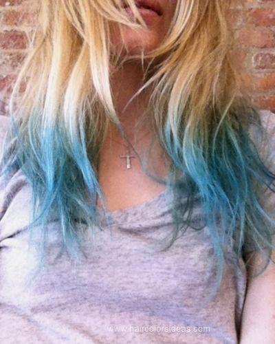 Blonde with teal dip dye hair