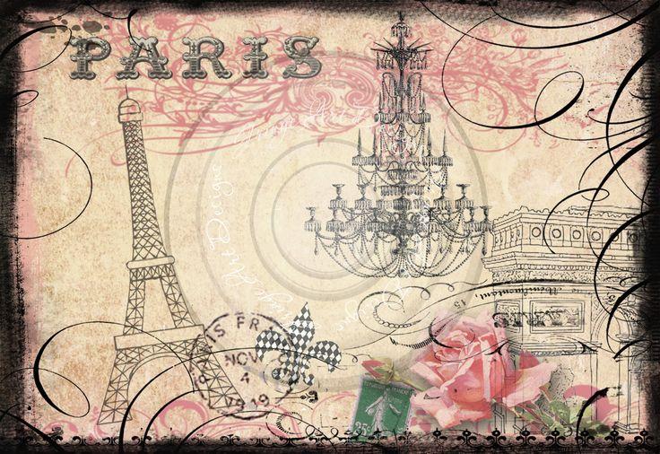 Pink Eiffel Tower Wallpaper | Parisian Eiffel Tower & Arc de Triumphe Digital Collage for notecards ...