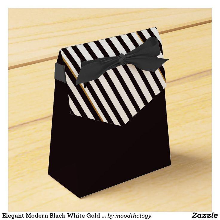 Elegant Modern Black White Gold Stripe Favour Box