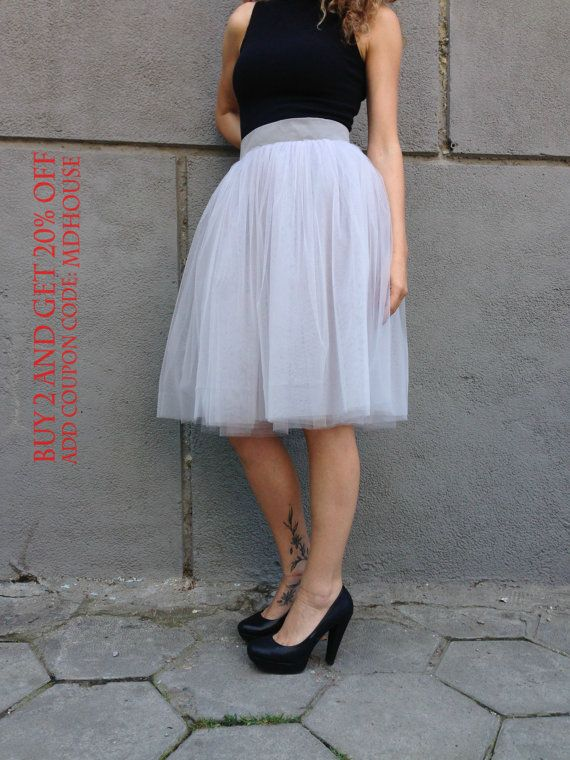 Grey Tea Length Tutu Skirt Women Tulle By MDSewingAtelier