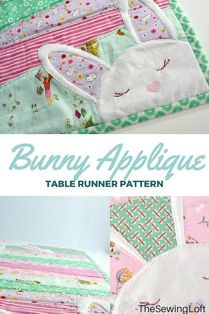 Add a little hop in your step this spring with an easy to make bunny applique table runner. Step by step tutorial includes FREE pattern. The Sewing Loft