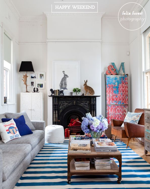 Bright.Bazaar: Rabbit, Interiors Inspiration, Living Rooms, Blue, Stripes Rugs, Lucy Fenton, Carpets, Bunnies, White Wall