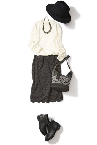 シックなグレーのレースタイトスカートでレディなON/OFFコーデ ― A-ファッションコーディネート通販 ビストロ フラワーズ トウキョウ