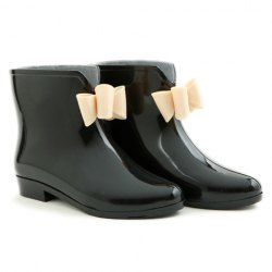 $9.81 Sweet Women's Rain Boots With Solid Color and Bowknot Design