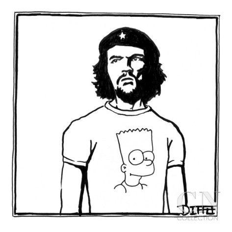 Che Guevara wearing a Bart Simpson T-shirt. - New Yorker Cartoon Premium Giclee Print