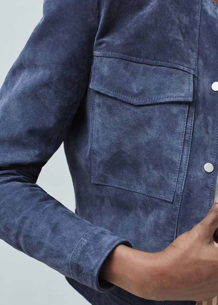 Mango - Blouson daim poches bleu - taille s - 60€