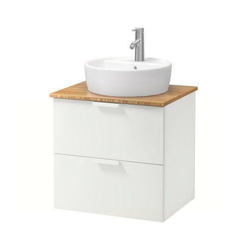 GODMORGON/ALDERN / TÖRNVIKEN Kast voor wastafel 45 v bovenblad - 62x49x74 cm, bamboe, wit - IKEA