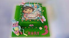 The Cake Lab Ranelagh, Dublin, Ireland, Artisan Baking Studio. Bespoke Wedding Cakes. Dora the Explorer personalised edible image cake topper.