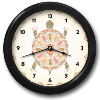 Painted Turtle Round Acrylic Wall Clock - From our Southwestern Clocks category, this clock features the turtle symbol which is often associated with longevity.  $38.00