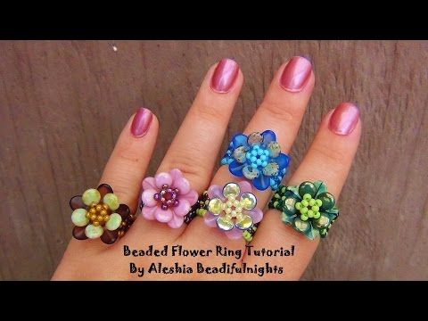 Beaded Flower Ring Tutorial - YouTube