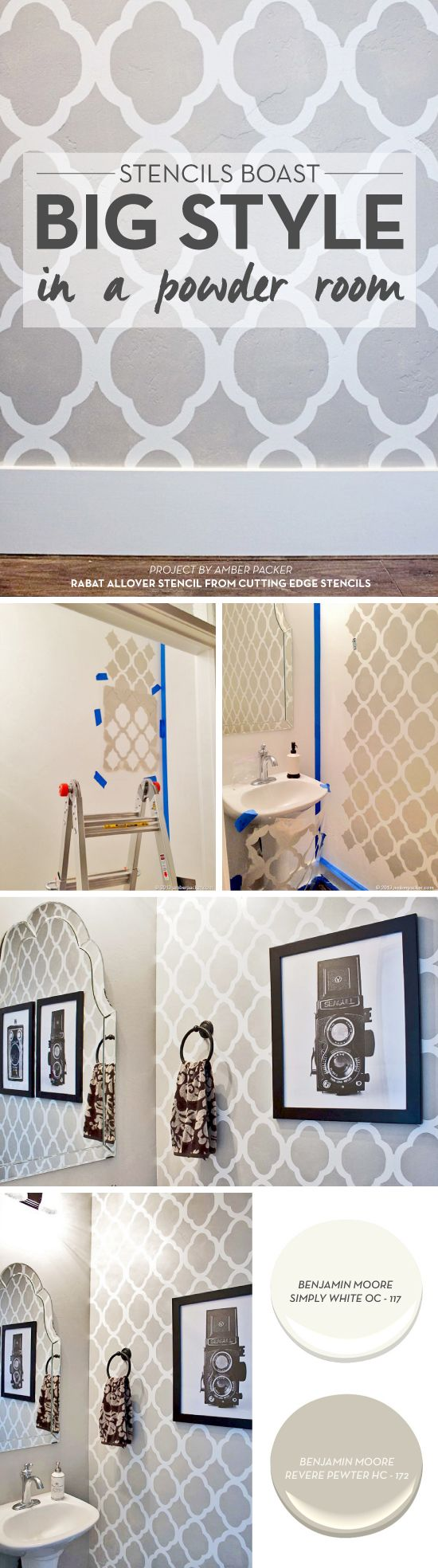 Cutting Edge Stencils shares a powder room makeover using the Rabat Allover Stencil in gray and white.  http://www.cuttingedgestencils.com/moroccan-stencil-pattern-3.html?utm_source=JCG&utm_medium=Pinterest%20Comment&utm_campaign=Rabat%20Allover%20Stencil%20