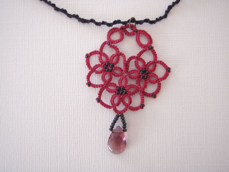Pendant Necklace Hand made Lace Tatting Necklace Valentine's Gift by tattingblackkitty on Etsy