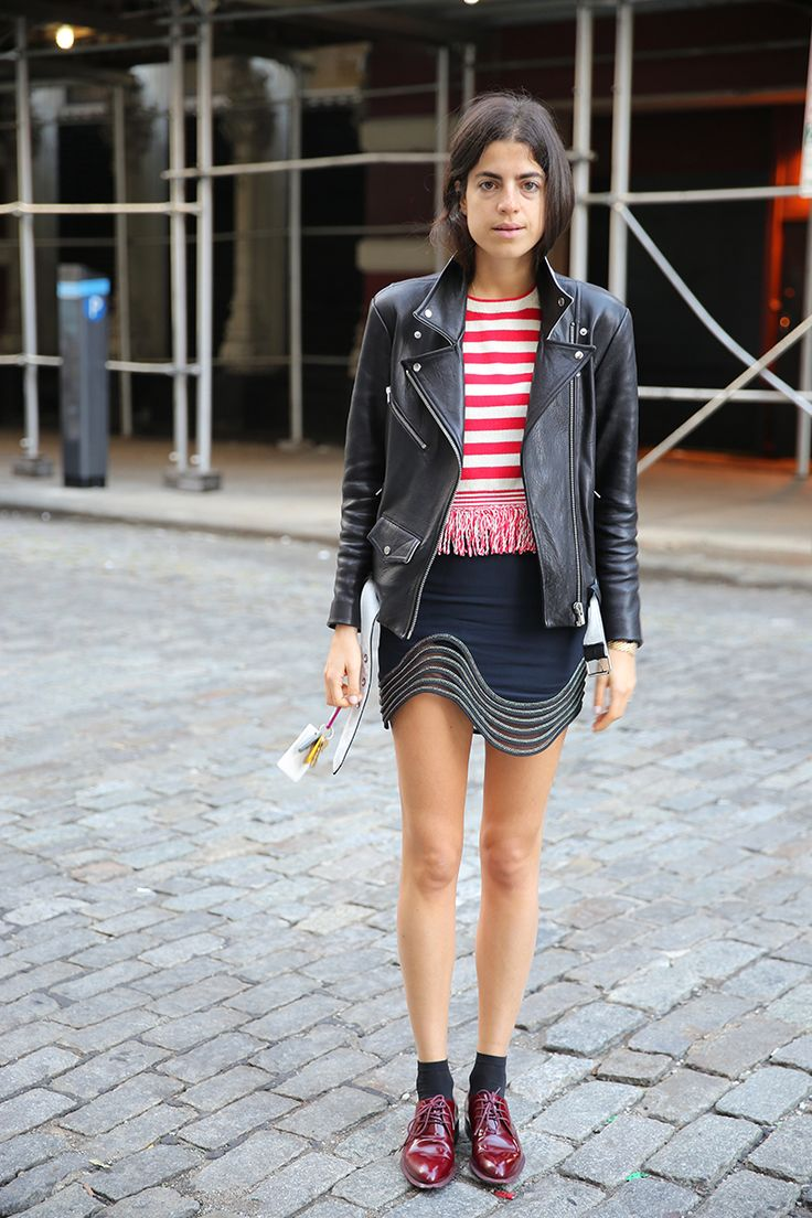Leandra Medine aka @ManRepeller in our VEDA Jayne leather jacket in black and white