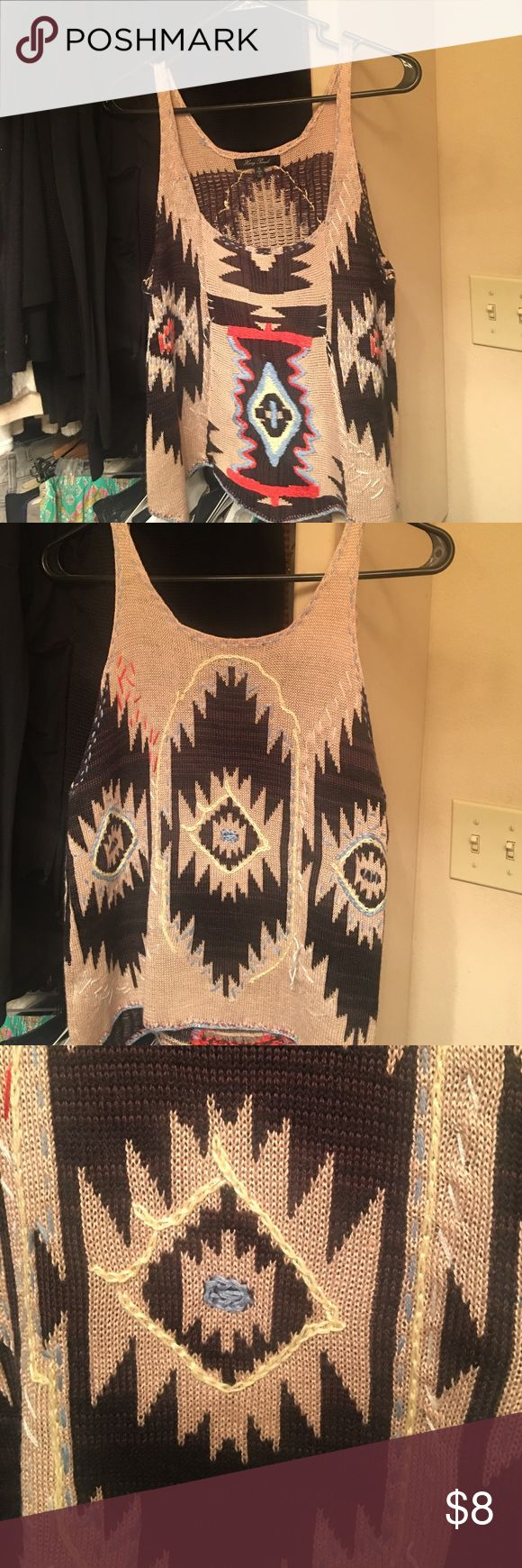 Aztec Sweater Tank Worn once. Adorable Aztec sweater tank Honey Punch Tops Tank Tops