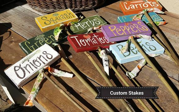 Wooden garden labels