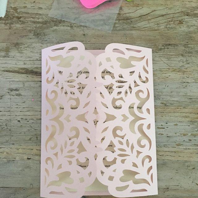 5x7'' Gate-fold Wedding Invitation Card Template, Quinceanera Invitation, laser cut, SVG cutting file, Silhouette Cameo, Cricut template
