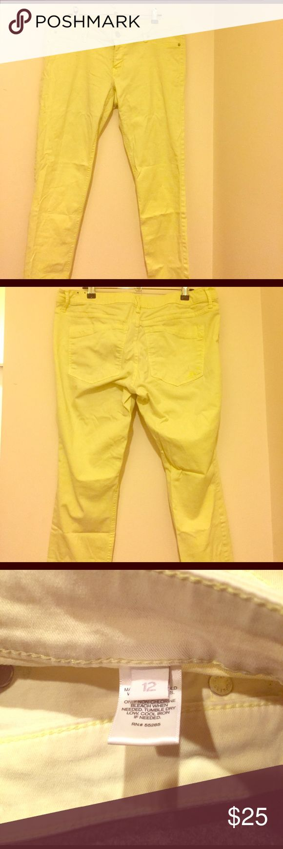 Express Neon Yellow Skinny Jeans Neon yellow Express Skinny Jeans please see back pocket discoloration. Came from keeping my wallet in my pockets and not a purse. Express Jeans Skinny