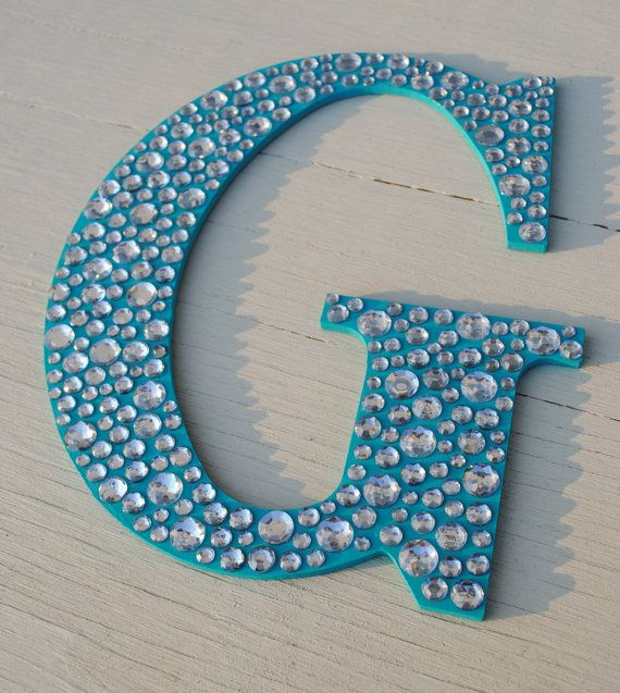 Beau Sparkle Turquoise Bling Decorative Wall Letters By LettersFromAtoZ