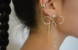 Jewelry: The Hunt'S, Style, Bows Earrings, Dangle Earrings, Accessories, Ears Piercing, Earcuff, Gold Earrings, Ears Cuffs