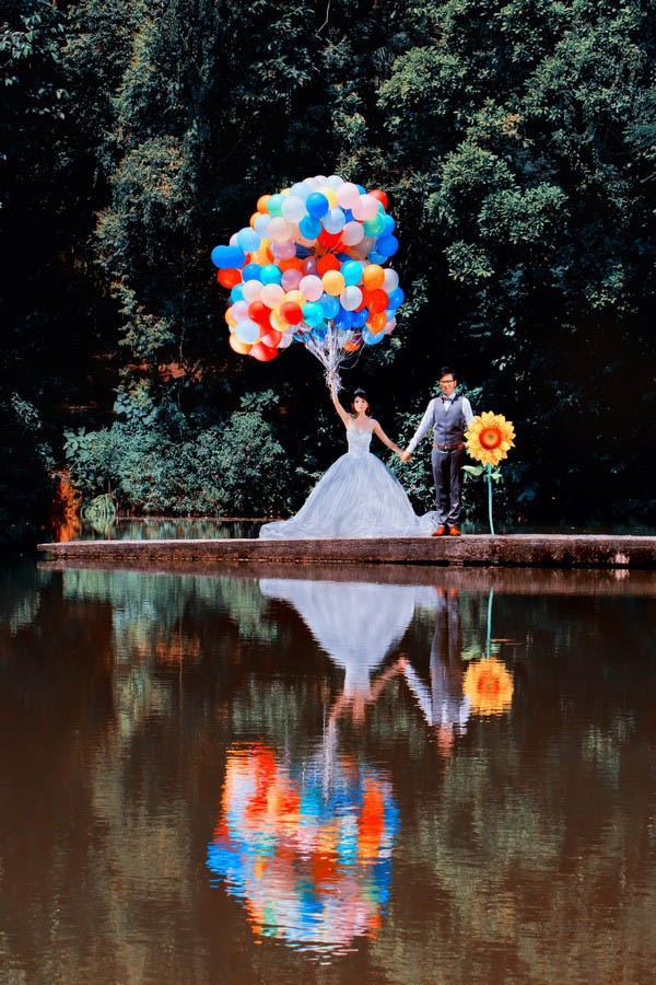 Amazing! Balloons, enormous sunflower, and pure awesome. by Raymond Phang Photography