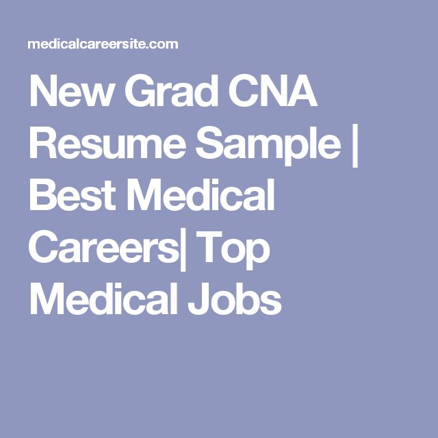 New Grad CNA Resume Sample | Best Medical Careers| Top Medical Jobs
