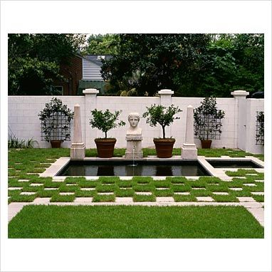 Classic Gardens And Landscape 53 best heritage classically inspired gardens images on pinterest classic garden with pond and fountain with modern feel with squares of grass checkboard with pavers workwithnaturefo