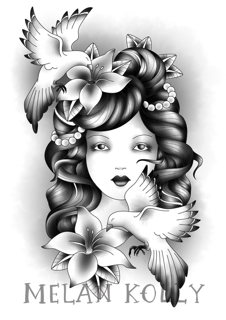 Lilies and Magpies Gypsy Girl Tattoo Design   KateHelenMuir