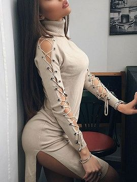 Shop Beige High Neck Lace Up Sleeve Side Split Knit Dress from choies.com .Free shipping Worldwide.$38.69