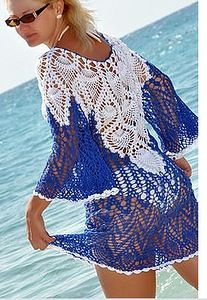 Perfect for a beach cover up. Could use the same idea to connect a cheap bikini set into a cute monokini.