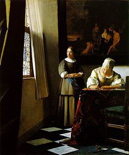 Johannes Vermeer. La Femme écrivant une lettre et sa servante est une peinture de genre du peintre baroque néerlandais Johannes Vermeer, réalisée vers 1670-1671. Il s'agit d'une huile sur toile de 71,1 × 60,5 cm actuellement exposée à la Galerie nationale d'Irlande de Dublin. L'œuvre est signée sur le papier dépassant de la table, sous l'avant-bras droit de la jeune femme écrivant.