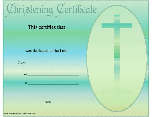 this christening or baptismal certificate is teal blue