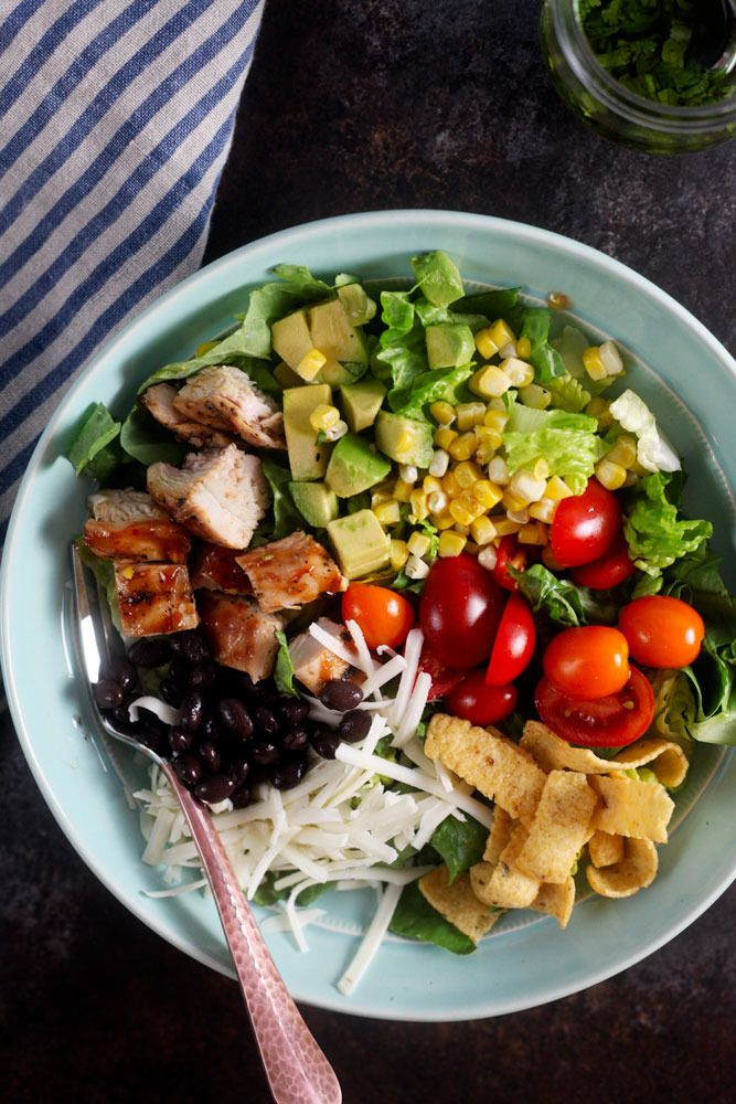 Southwest Barbecue Chicken Salad with Cilantro Lime Dressing #produceforkids