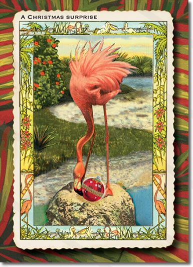 Flamingo Christmas Card – Surprised Flamingo  Flamingo Christmas Card is a fun, vintage style flamingo Christmas card. A funny Christmas Card image of a flamingo finding a huge Christmas ornament in her nest. May your Holidays bring unexpected delights!  Original Christmas card artwork inspired by antique travel postcards.  8 cards & envelopes $12.00 | Folded Card Size 4.5″x 6.25″