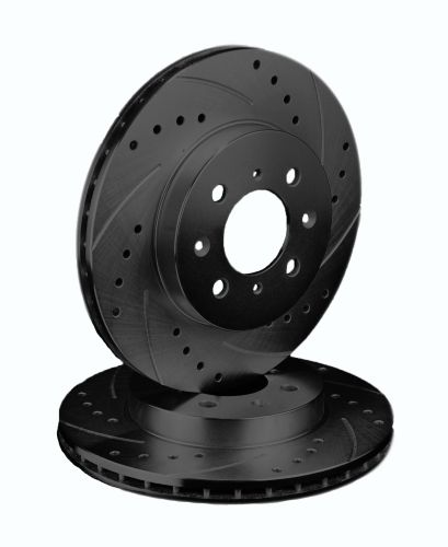 ATL Autosports Performance Brake Rotors Front Pair Fits 2007 Chevrolet Cobalt [ 4 Lug - W/ Rear Drum ] ATL55083-02DSBZ, Black