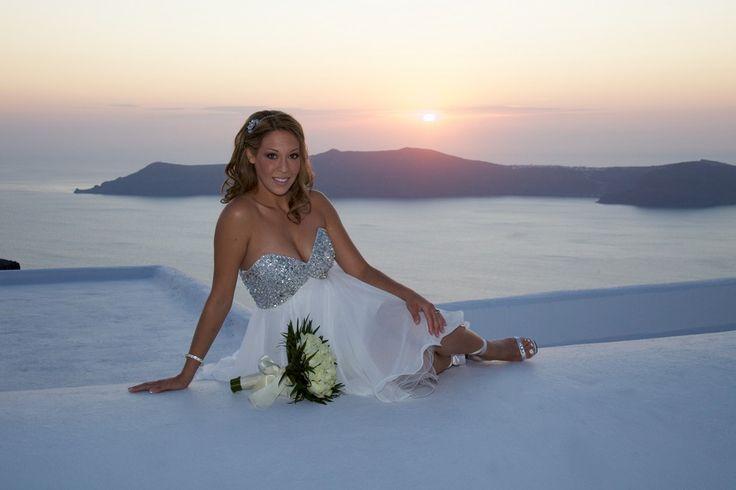 Diamond Wedding Dress Bride Santorini Sunset