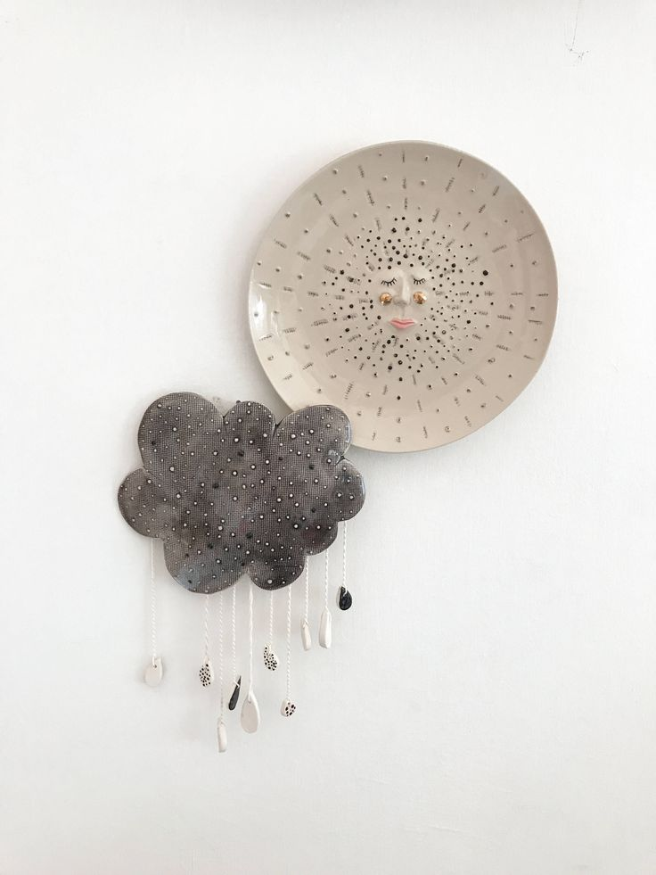 Cloud Wall Hanging, Ceramic Wall Decor, Ceramic Mobile, Cloud Mobile, Ceramic Wall Art, Cloud and Drops. #ceramic #ceramicdecor #homedecor #mobile #cloud #wallhanging