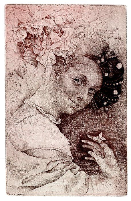 Marina RICHTEROVA Print - etching Butterflies dreams