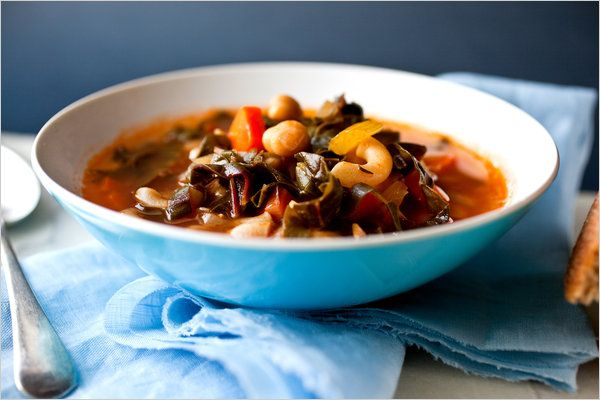 Perfectly delicious, and very healthy!  Loved it!  Swiss Chard and Chickpea Minestrone - Recipes for Health - NYTimes.com
