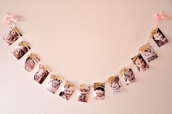 Pink and Gold First Birthday Decorations. Ready to ship. 12 Month Photo Banner…