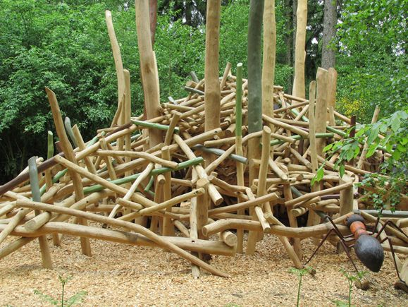 DESIGN FOR PLAY [MOVE] Climbing structures with tilted and uneven parts make for challenging physical activity [Playground Nests by Kukuk, Germany].