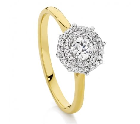 18ct Gold 0.37ct TDW Halo Cluster Ring