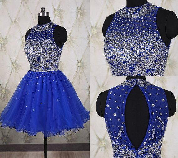 Sparkling royal blue short homecoming dress with full beaded top,tulle short prom dress,shining school dance dress,crystal party dress