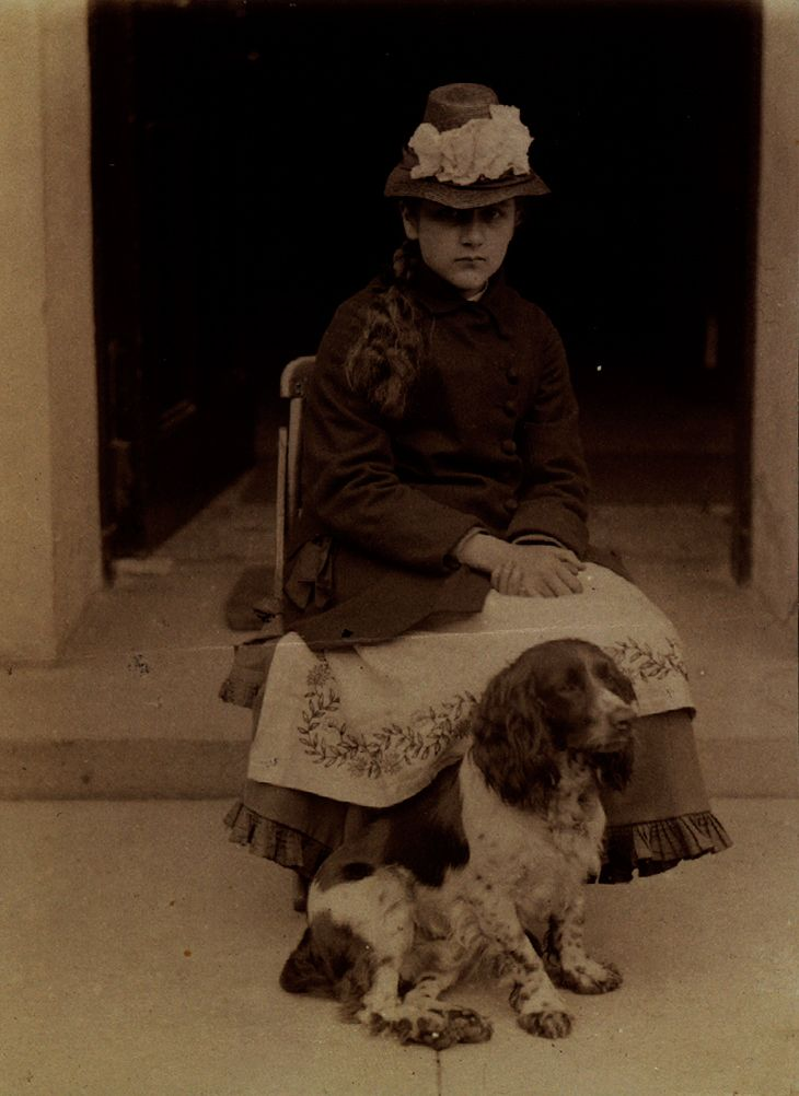 Beatrix Potter at 14, and Spot, at Dalguise, Scotland, photographed by Rupert Potter, 1880.