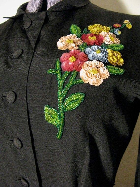 1940s Black Beaded Sequined Flower Dress detail
