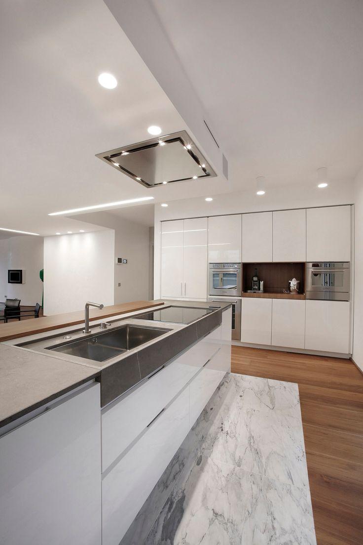 Cucina laccato lucido teack pietra e acciaio